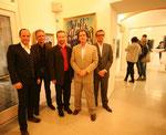 Vernissage am 27.3.2014: Bgm. christoph Stark, Mag. Günther Holler-Schuster, Obmann Karl Bauer sowie die Sammler Karl Pallauf und Oliver Jungnickel (v.li)