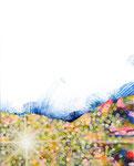 """Eternal Light-Towanohikari H 2015  10""""x8""""  oil and acrylic on canvas  sold"""