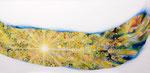 """Eternal Light-Towanohikari W 2015  18""""x36""""  oil and acrylic on canvas"""
