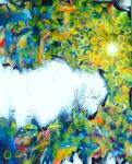 """Eternal Light-Towanohikari T  2016  20""""x16""""  oil and acrylic on canvas"""