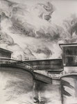 """""""Cement Silos"""" 24x18, charcoal on paper, 2016"""