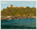 """Kellogg Island"" monotype/graphite, 24x32, 2014, $950"