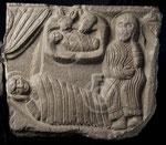 Fonts baptismaux, détail de la Nativité ; Namur, TreM.a, coll. Société archéologique de Namur