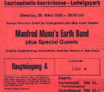 Ticket Stub - Saarlandhalle Saarbrucken Germany 29-3-83
