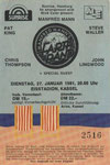 Ticket Stub - Eissporthalle Kasse Kassel Germany 27-1-81