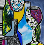 Technique mixte, encre, collage, aquarelle... 13X13 cm  - VENDU