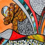 IWAK - Technique mixte, encre, collage, aquarelle... 13X13 cm