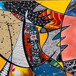 Technique mixte, encre, collage, aquarelle... 25X25 cm  -  En vente chez Carré d'Artistes, Amsterdam
