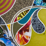 Technique mixte, encre, collage, aquarelle... 19X19 cm  -  En vente chez Carré d'Artistes, Amsterdam
