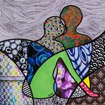 Technique mixte, encre, collage, aquarelle... 19X19 cm  -  VENDU