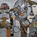 IWAK - Technique mixte, encre, collage, aquarelle... 36X36 cm  -  Vendu