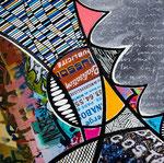 Technique mixte, encre, collage, aquarelle... 13X13 cm  -  En vente chez Carré d'Artistes, Amsterdam