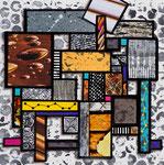 Technique mixte, encre, collage, aquarelle...  15X15 cm  -  VENDU