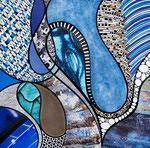 IWAK - Technique mixte, encre, collage, aquarelle... 25X25 cm  -  Vendu