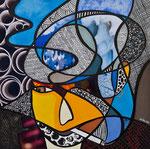 Yves Jamait - Technique mixte, encre, collage, aquarelle... 20 X 20 cm  - VENDU