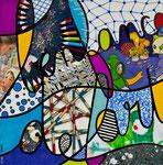 L'Enfance de l'Art - Technique mixte, encre, collage, aquarelle... 20 X 20 cm  -  En vente chez Tokade, Toulouse