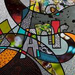 Technique mixte, encre, collage, aquarelle... 20X20 cm  -  VENDU