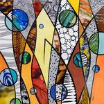 IWAK - Technique mixte, encre, collage, aquarelle... 25X25 cm  -  En vente chez Carré d'Artistes, Amsterdam