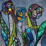 Technique mixte, encre, collage, aquarelle... 36X36 cm  -  VENDU
