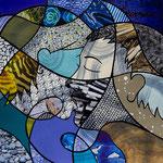 Technique mixte, encre, collage, aquarelle... 36X36 cm  -  En vente chez Carré d'Artistes, Amsterdam