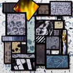 Technique mixte, encre, collage, aquarelle...  12X12 cm En vente chez Tokade, Toulouse
