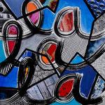 Technique mixte, encre, collage, aquarelle...  20X20 cm  -  Disponible 110 €