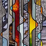 Technique mixte, encre, collage, aquarelle...  15X15 cm Disponible 85 €
