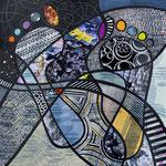 Technique mixte, encre, collage, aquarelle... 25X25 cm  -  VENDU