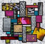 Technique mixte, encre, collage, aquarelle...  15X15 cm  -  Disponible 85 €