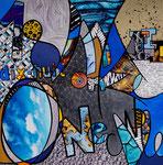IWAK - Technique mixte, encre, collage, aquarelle... 30X30 cm  -  Collection particulière