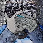 Technique mixte, encre, collage, aquarelle...  20X20 cm  -  Collection privée
