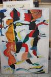 K07 Choreografie eines Eingeborenentanzes, 1966, Gouache, Tempera, 150x109