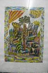 Sa 30 Landschaft mit Vorhang, 1968, Gouache, 100x70