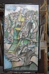 Sch 07 Triptychon Le dejeuner sur l'herbes, Mittelteil, 1983, Farbstift, 190x100