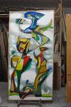 K08 Faun in der Morgendämmerung, 1970, Farbstift, Tempera, 220x110