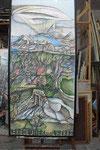 Sch 08 Triptychon Le dejeuner sur l'herbes, Rechter Teil, 1983, Farbstift, 180x95