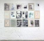 Reflexion über Schulblätter 1 - 18;Mixed media on canvas; 58,0 x 42,0 cm each; since 2013