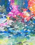 """""""サギがみていた空""""  water color,acrylic,paper 18×14cm,2014"""
