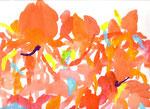 """""""花シリーズ"""" acrylic,watercolor,oil pastel,pencil  23.5×34.0cm 2007"""