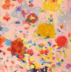 """""""ピンクの花""""  acrylic on canvas 100×100cm,2009"""