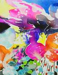 """""""サギがみていた空""""  watercolor,acrylic,paper 14×18cm,2014"""