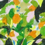 """""""緑の丘""""  acrylic on canvas 22.7×22.7cm,2008"""