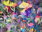 """""""夕日をあと何回みれるか3-3"""" watercolor,acrylic,paper 56×76cm,2014"""