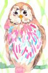 """""""フクロウ""""  watercolor,paper 10×14.8cm"""