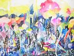 """""""夕日をあと何回みれるか3-1""""water color,acrylic,paper 56×76cm,2014"""
