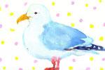 """""""カモメ""""  water color,paper 10×14.8cm"""