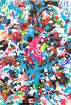"""""""サギがみていた空""""  water color,acrylic,paper 22.7×15.8cm,2014"""