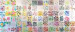 """""""散歩の音""""  watercolor,acrylic,paper 35×35cm×84点,2010"""