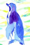 """""""ペンギン""""  water color,paper 10×14.8cm"""