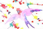 """""""ツバメ""""  water color,paper 10×14.8cm"""